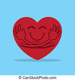 Heart Hug - Large cartoon heart hugging itself