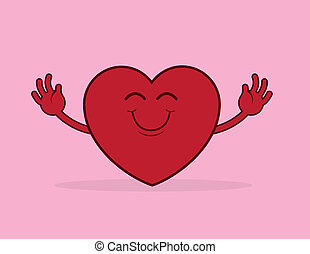 Heart Hug Reach - Large cartoon heart reaching for a hug