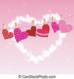 heart hung on clothesline