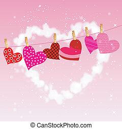 heart hung on clothesline