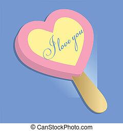 Heart, ice cream, lollipop