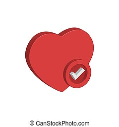 Heart icon 3d with check mark. Design vector illustration