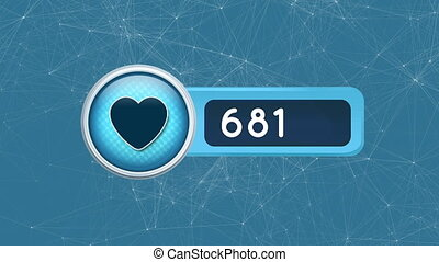 Digitally generated animation of heart icon with increasing numbers and asymmetrical lines moving in the background.