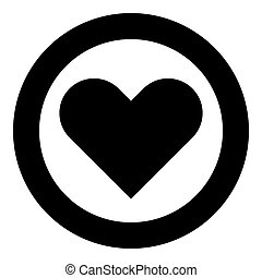 Heart icon black color in circle