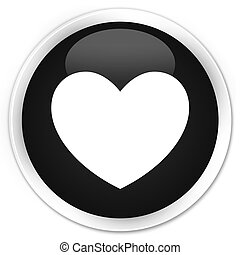 Heart icon black glossy round button