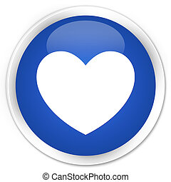 Heart icon blue glossy round button
