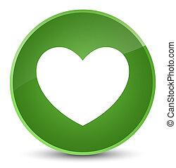 Heart icon elegant soft green round button