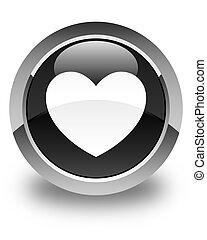 Heart icon glossy black round button