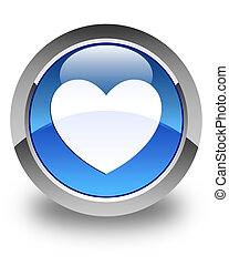 Heart icon glossy blue round button
