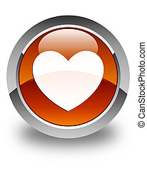 Heart icon glossy brown round button