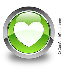 Heart icon glossy green round button