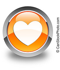 Heart icon glossy orange round button