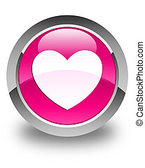 Heart icon glossy pink round button