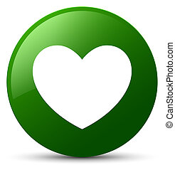 Heart icon green round button
