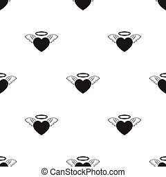 Heart icon in black style isolated on white background. Romantic pattern stock vector illustration.