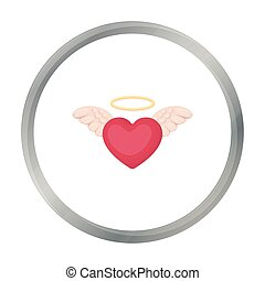 Heart icon in cartoon style isolated on white background. Romantic symbol stock vector illustration.