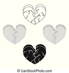 Heart icon in cartoon,black style isolated on white...