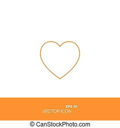 Heart icon in line style isolated on white background.