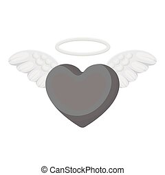 Heart icon in monochrome style isolated on white background. Romantic symbol stock vector illustration.
