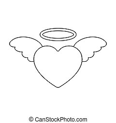 Heart icon in outline style isolated on white background. Romantic symbol stock vector illustration.