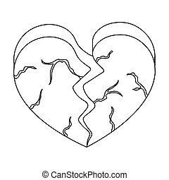 Heart icon in outline style isolated on white background....