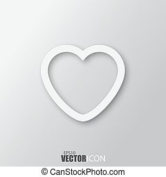 Heart icon in white  style with shadow isolated on grey background.