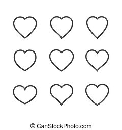 Heart Icon isolated on white background. Set of love symbol for web site logo, mobile app UI design. Vector illustration outline