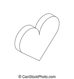 Heart icon, isometric 3d style