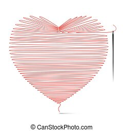 Heart Icon Made from String with Needle. Vector Illustration Isolated on White Background