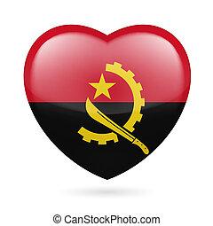 Heart with Angolan flag design. I love Angola