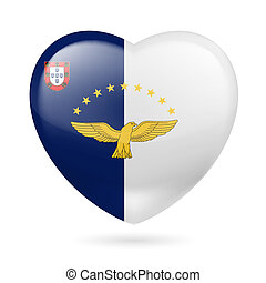 Heart icon of Azores - I love Azores. Heart with flag design