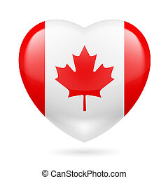 Heart icon of Canada - Heart with Canadian flag colors. I...
