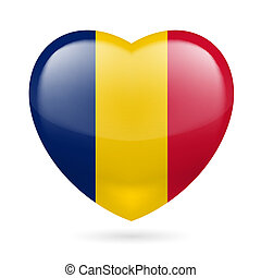 Heart icon of Chad - Heart with Chadian flag colors. I love...