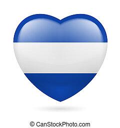 Heart icon of El Salvador - Heart with Salvadoran flag...