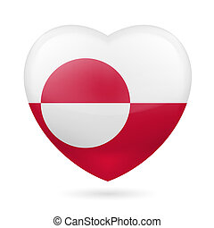 Heart icon of Greenland - I love Greenland. Heart with flag...