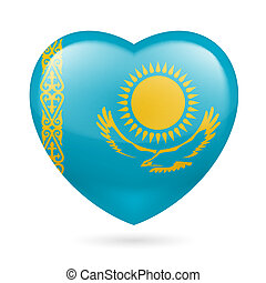 Heart icon of Kazakhstan - Heart with Kazakh flag colors. I...