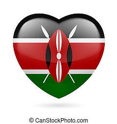 Heart icon of Kenya - Heart with Kenyan flag colors. I love ...