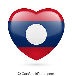 I love Laos. Heart with flag design