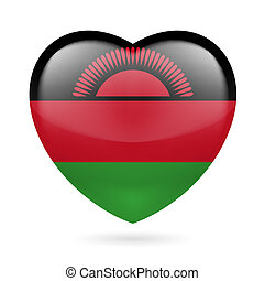 Heart icon of Malawi - Heart with Malawian flag colors. I...
