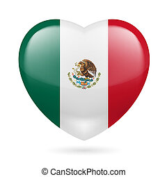 Heart icon of Mexico - Heart with Mexican flag colors. I ...