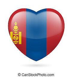Heart icon of Mongolia - Heart with Mongolian flag colors. I...