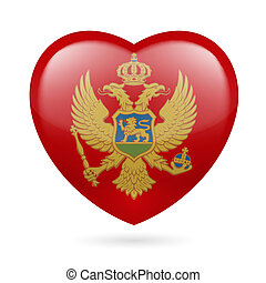 Heart icon of Montenegro - Heart with Montenegrin flag...