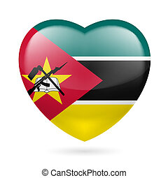 Heart icon of Mozambique - Heart with Mozambican flag colors...