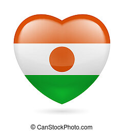 Heart icon of Niger - Heart with Nigerian flag colors. I...
