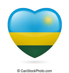 Heart icon of Rwanda - Heart with Rwandese flag colors. I...
