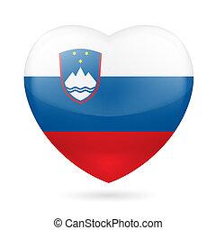 Heart icon of Slovenia - Heart with Slovenian flag colors. I...
