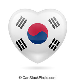 Heart icon of South Korea - Heart with South Korean flag...