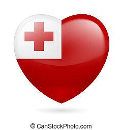 Heart icon of Tonga - Heart with Tongan flag colors. I love ...