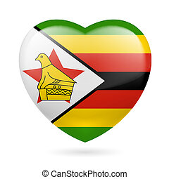 Heart icon of Zimbabwe - Heart with Zimbabwean flag colors....