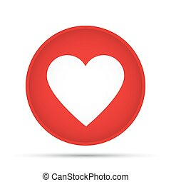 Heart icon on a circle on a white background. Vector illustration